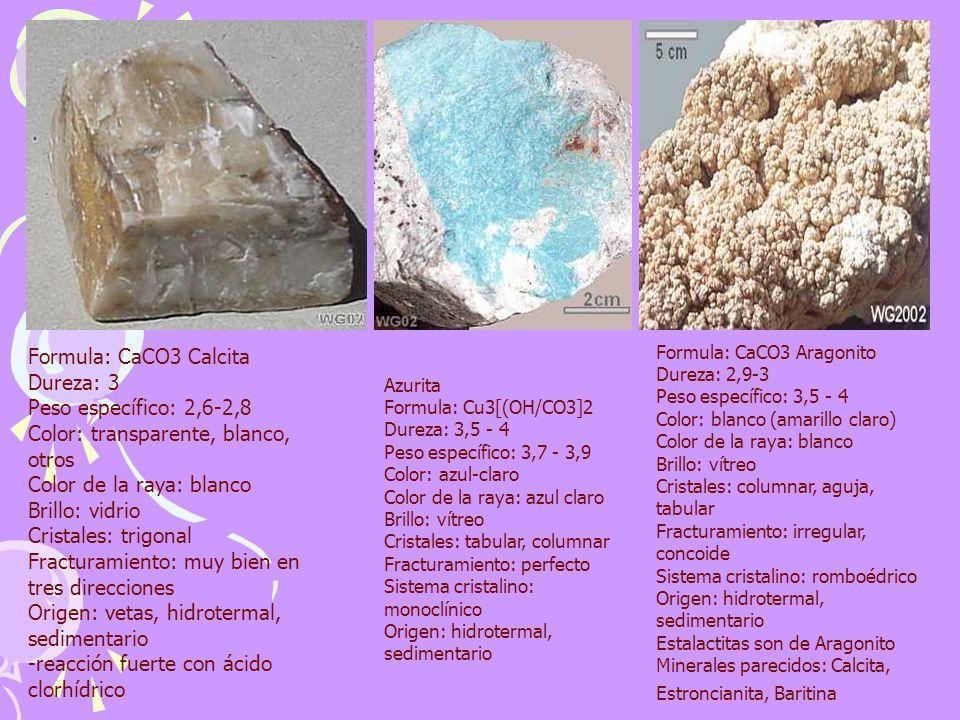 Formula: CaCO3 Calcita Dureza: 3 Peso específico: 2,6-2,8 Color: transparente, blanco, otros Color de la raya: blanco Brillo: vidrio Cristales: trigonal Fracturamiento: muy bien en tres direcciones Origen: vetas, hidrotermal, sedimentario -reacción fuerte con ácido clorhídrico