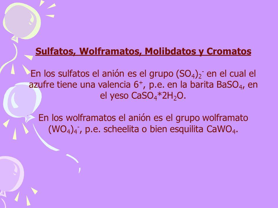 Sulfatos, Wolframatos, Molibdatos y Cromatos