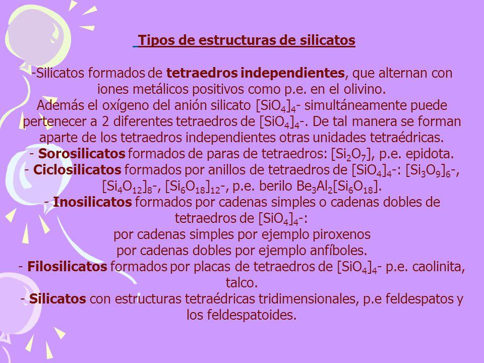 Tipos de estructuras de silicatos