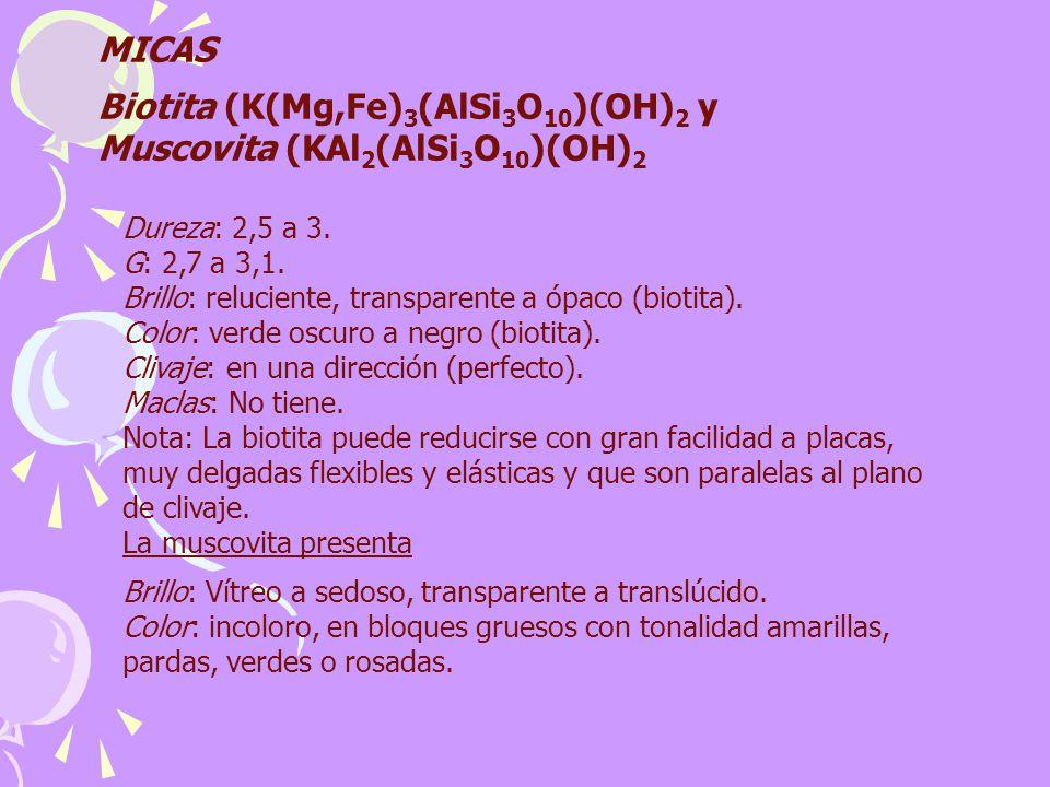 Biotita (K(Mg,Fe)3(AlSi3O10)(OH)2 y Muscovita (KAl2(AlSi3O10)(OH)2