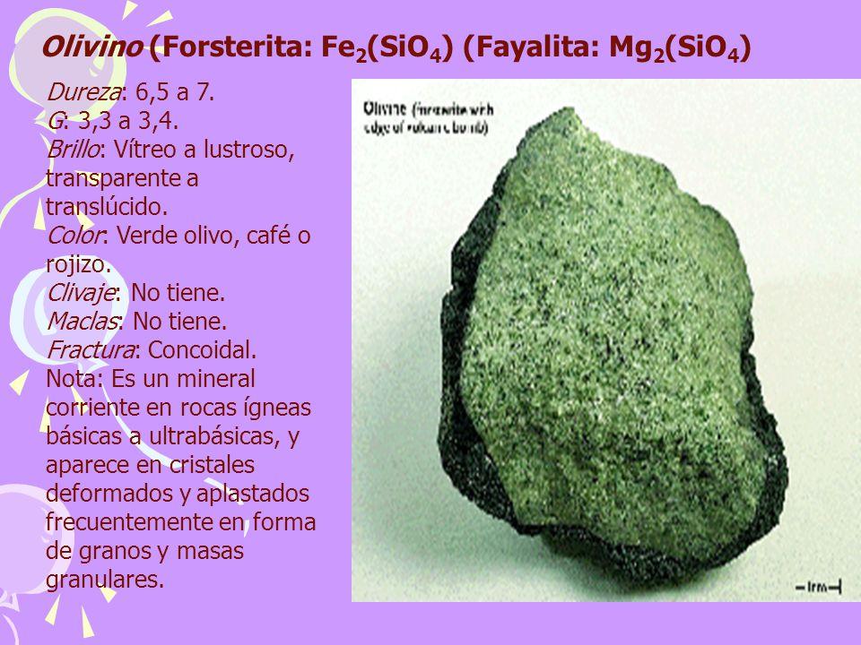 Olivino (Forsterita: Fe2(SiO4) (Fayalita: Mg2(SiO4)