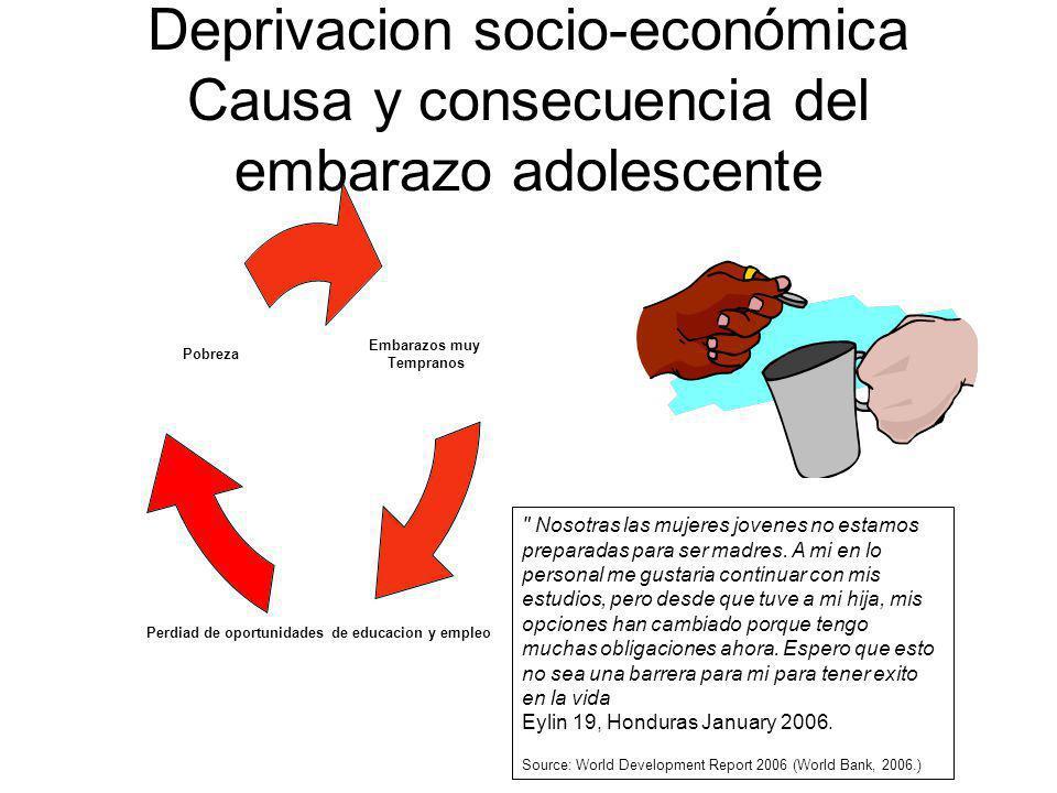 Deprivacion socio-económica Causa y consecuencia del embarazo adolescente