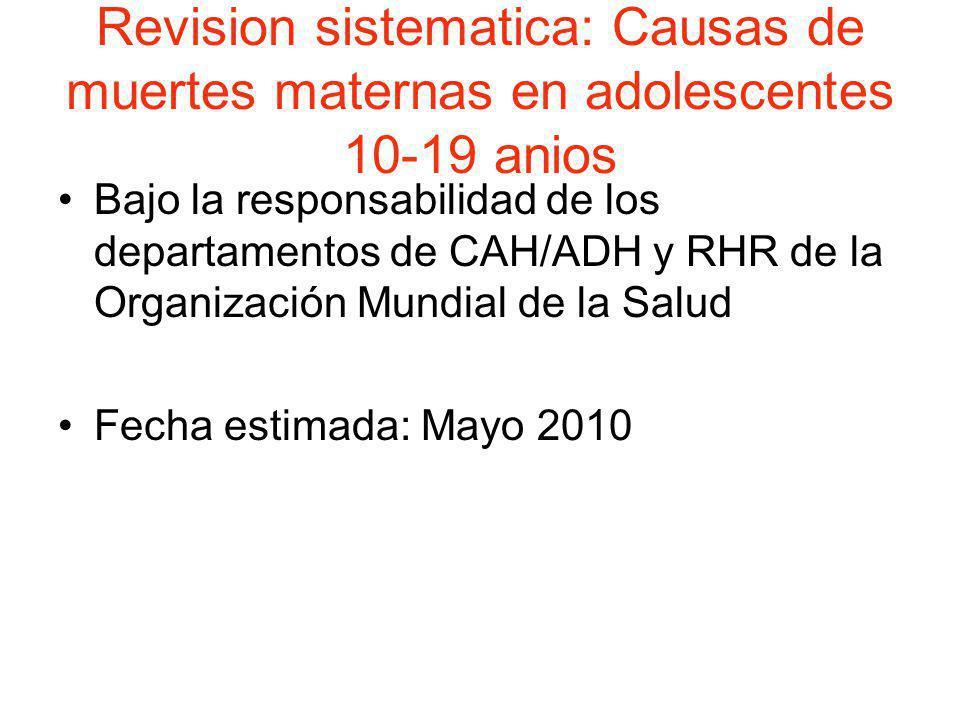 Revision sistematica: Causas de muertes maternas en adolescentes 10-19 anios