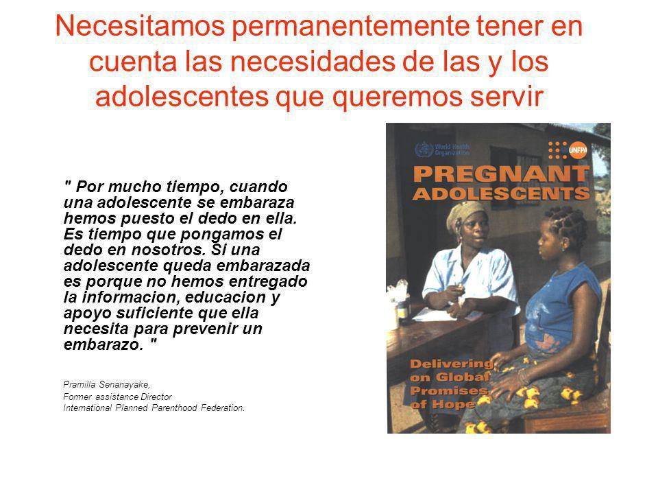 Necesitamos permanentemente tener en cuenta las necesidades de las y los adolescentes que queremos servir