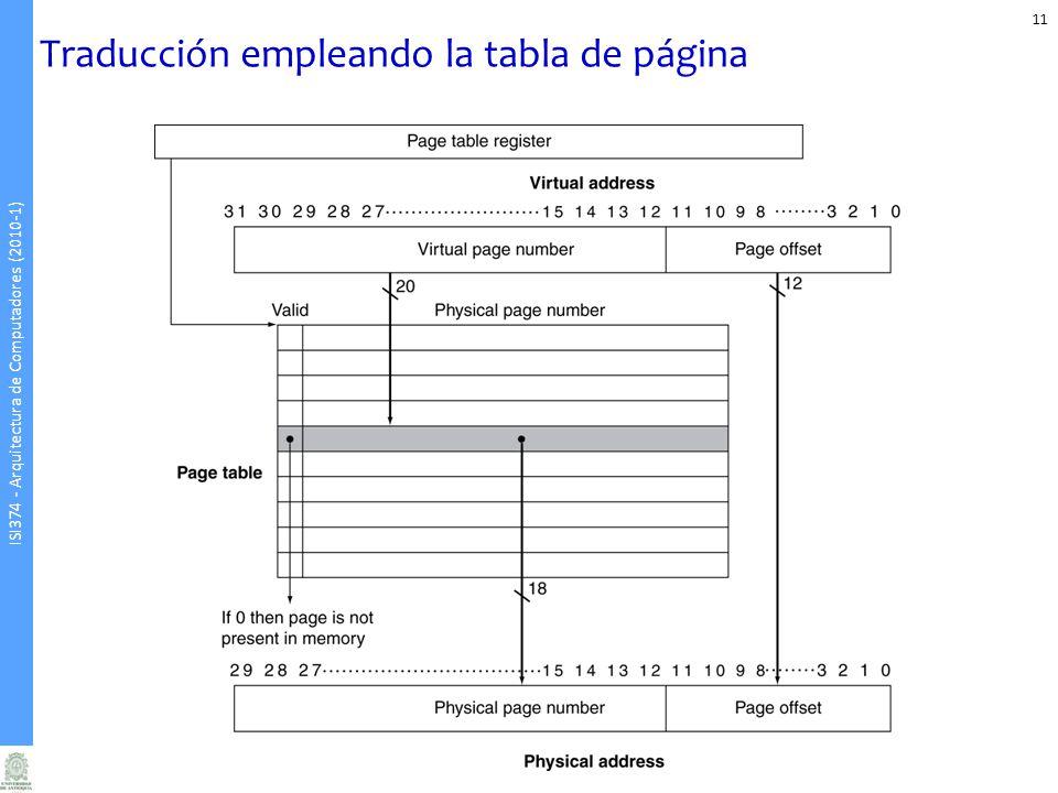 Traducción empleando la tabla de página