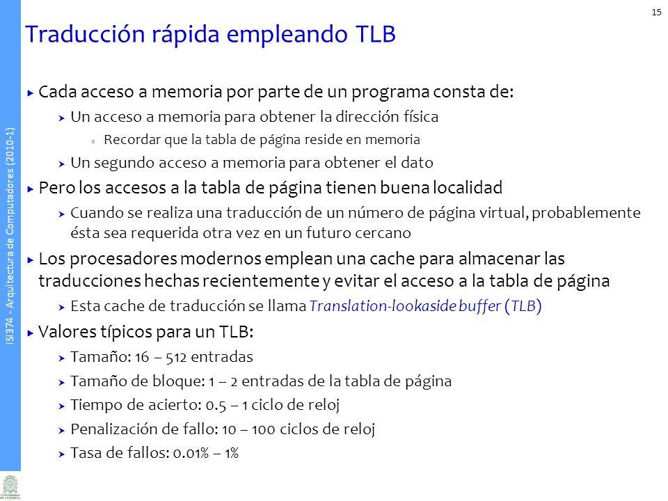 Traducción rápida empleando TLB