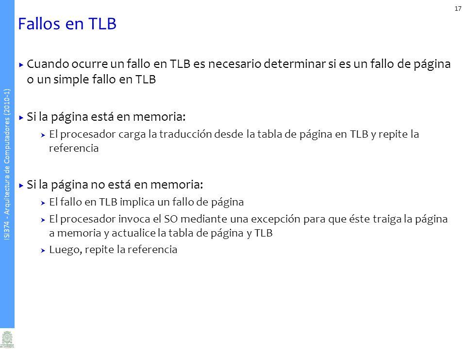 Fallos en TLB Cuando ocurre un fallo en TLB es necesario determinar si es un fallo de página o un simple fallo en TLB.