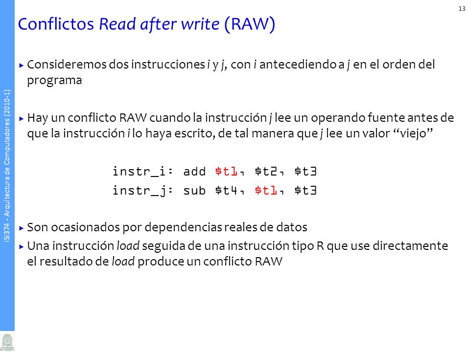 Conflictos Read after write (RAW)