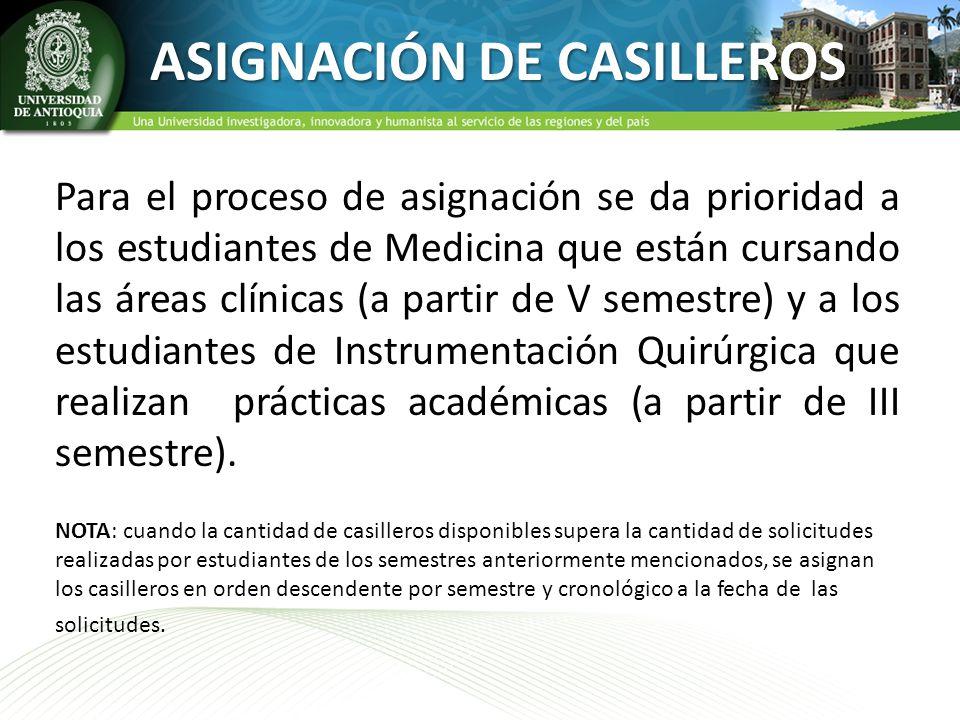 ASIGNACIÓN DE CASILLEROS