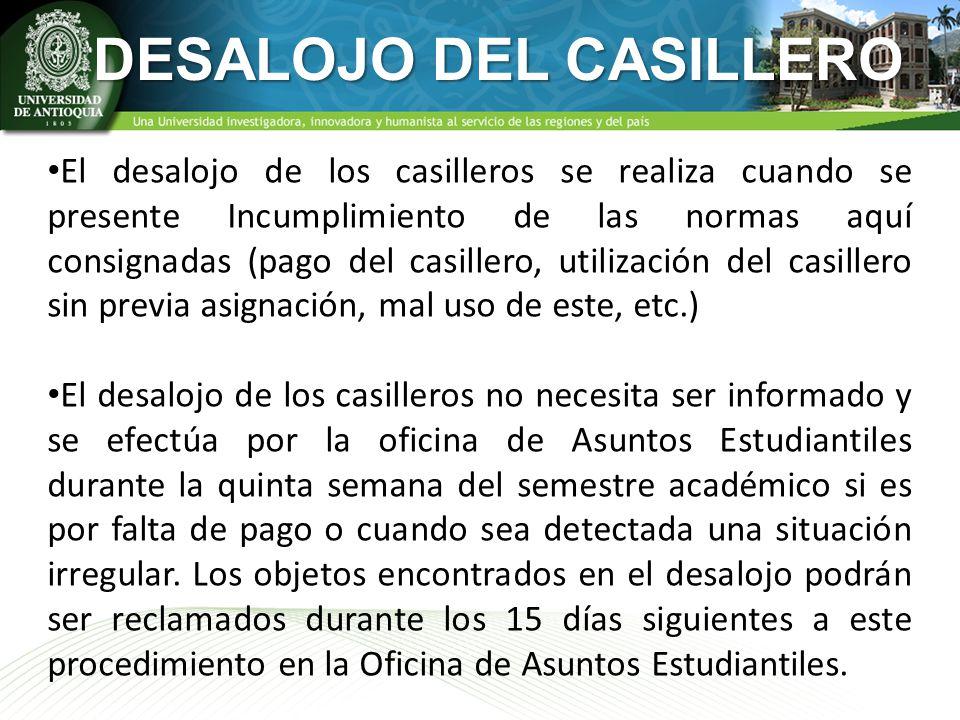 DESALOJO DEL CASILLERO