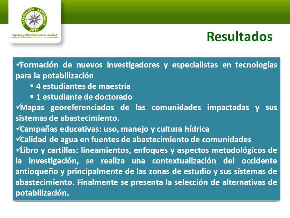 Resultados Formación de nuevos investigadores y especialistas en tecnologías para la potabilización.