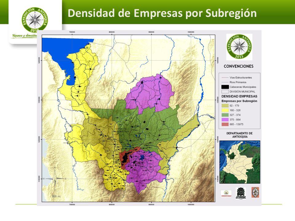 Densidad de Empresas por Subregión