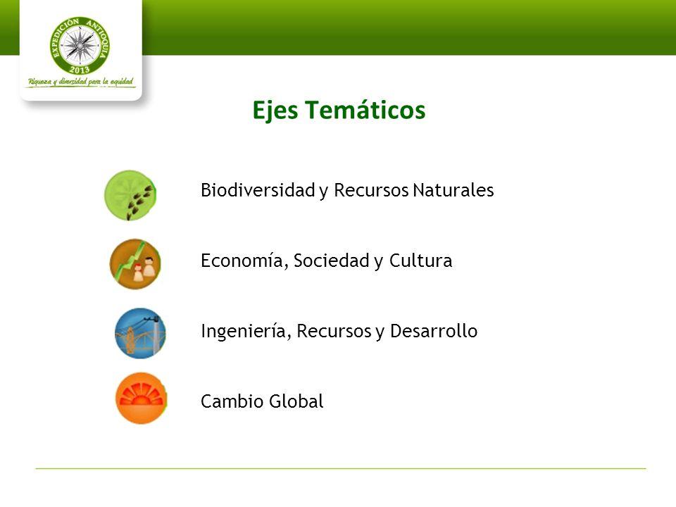 Ejes Temáticos Biodiversidad y Recursos Naturales Economía, Sociedad y Cultura Ingeniería, Recursos y Desarrollo Cambio Global
