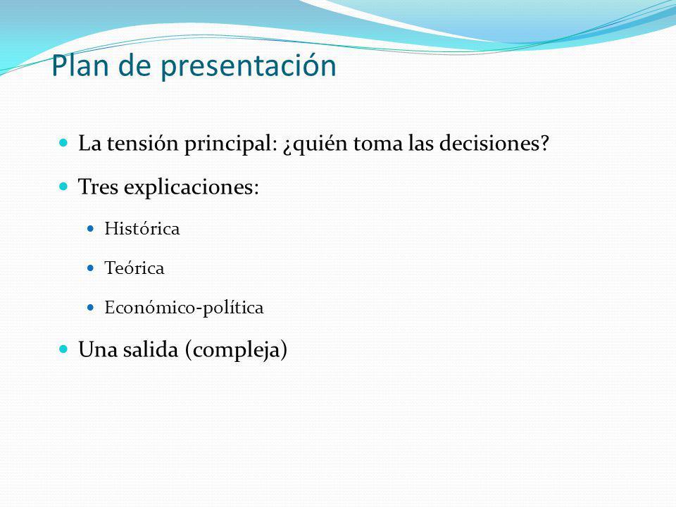 Plan de presentación La tensión principal: ¿quién toma las decisiones