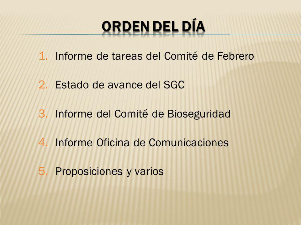 Orden del día Informe de tareas del Comité de Febrero