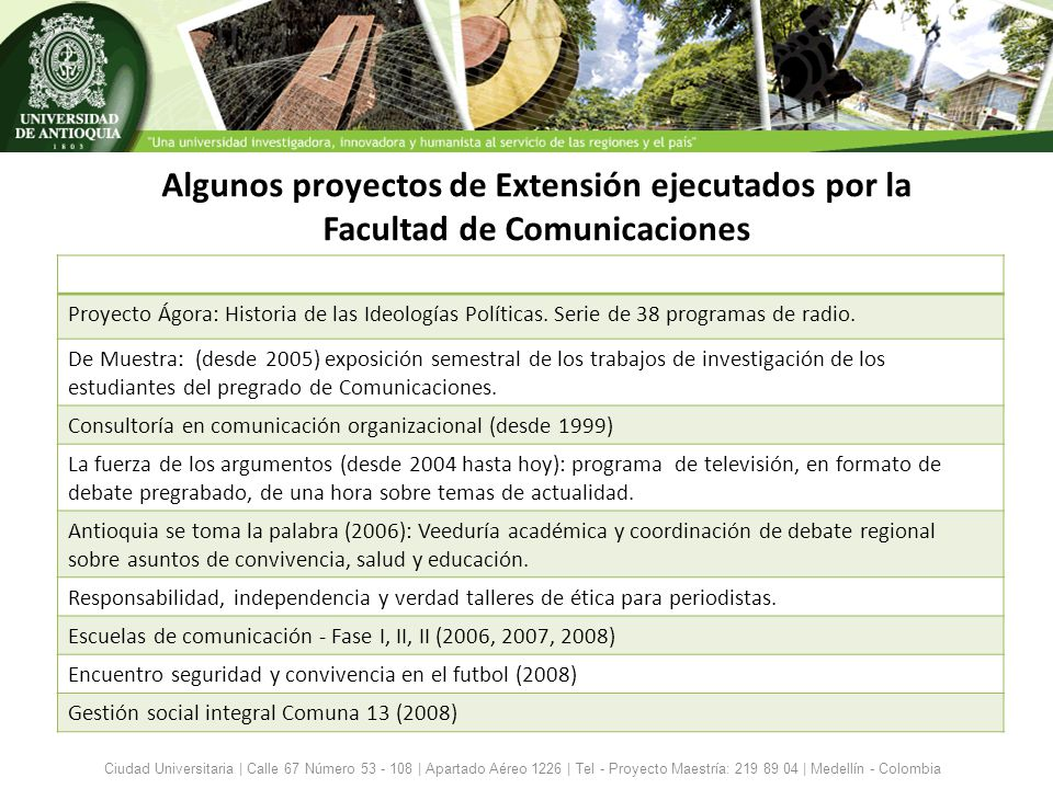 Algunos proyectos de Extensión ejecutados por la Facultad de Comunicaciones