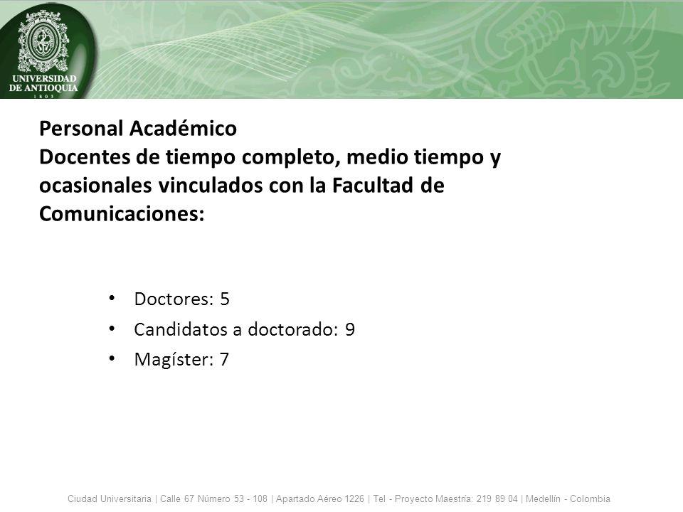 Personal Académico Docentes de tiempo completo, medio tiempo y ocasionales vinculados con la Facultad de Comunicaciones: