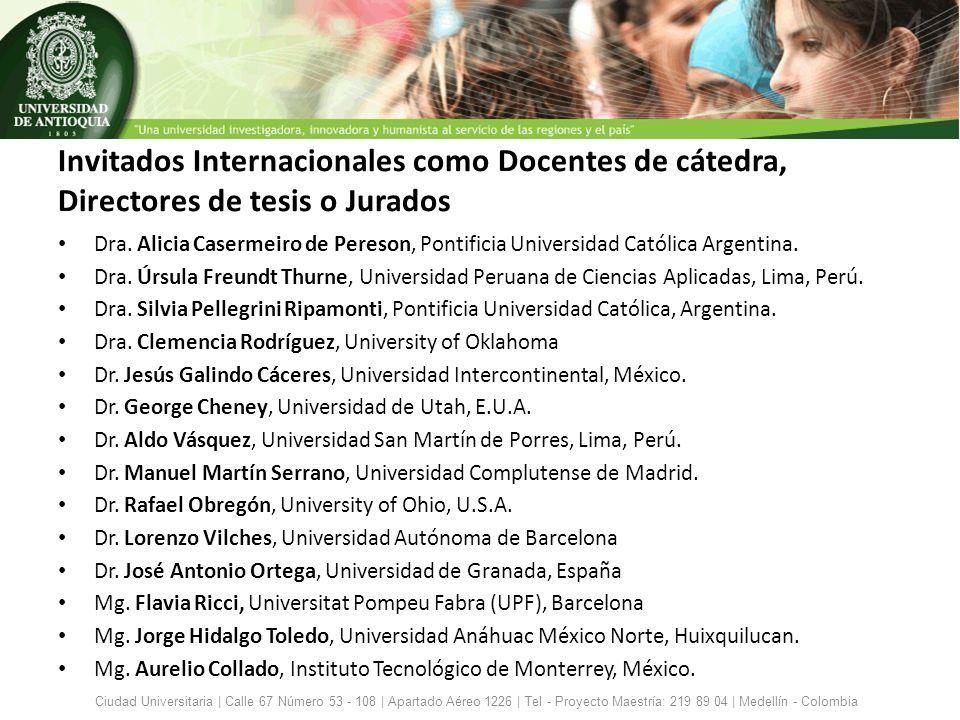 Invitados Internacionales como Docentes de cátedra, Directores de tesis o Jurados