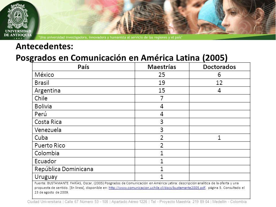Antecedentes: Posgrados en Comunicación en América Latina (2005)
