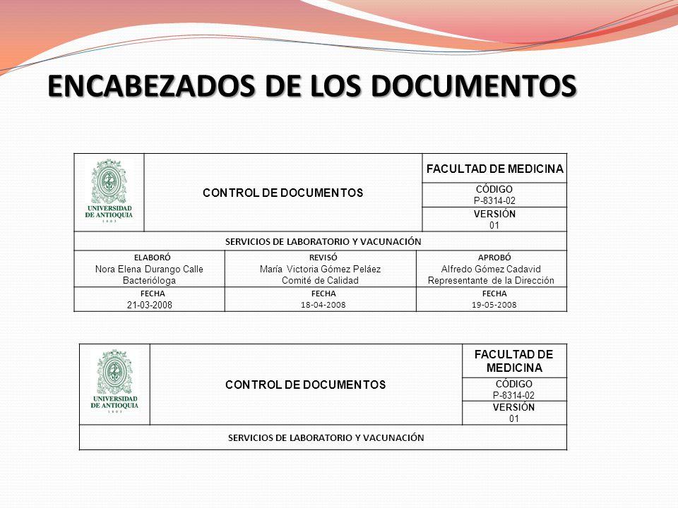 ENCABEZADOS DE LOS DOCUMENTOS