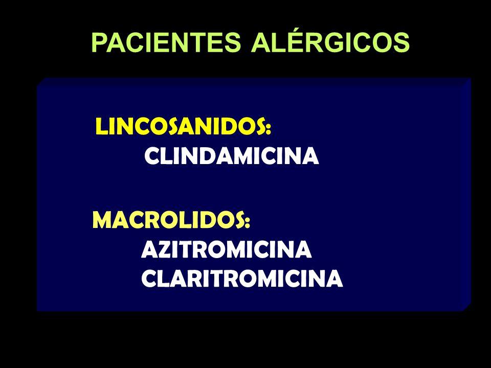 PACIENTES ALÉRGICOS LINCOSANIDOS: CLINDAMICINA MACROLIDOS: