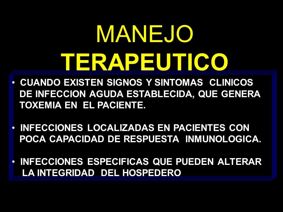MANEJO TERAPEUTICO CUANDO EXISTEN SIGNOS Y SINTOMAS CLINICOS