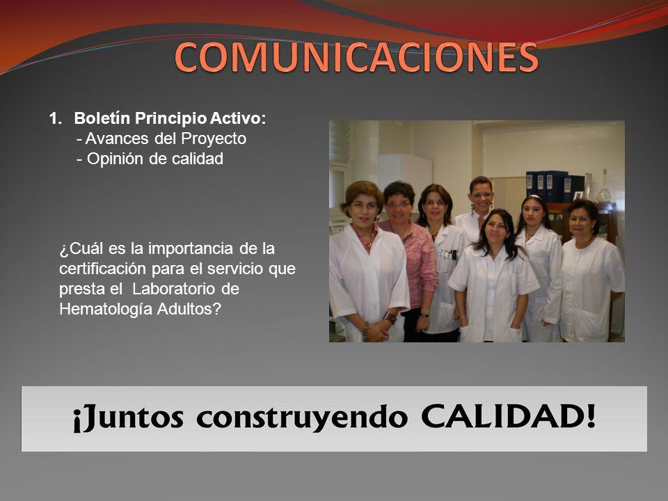 COMUNICACIONES Boletín Principio Activo: - Avances del Proyecto