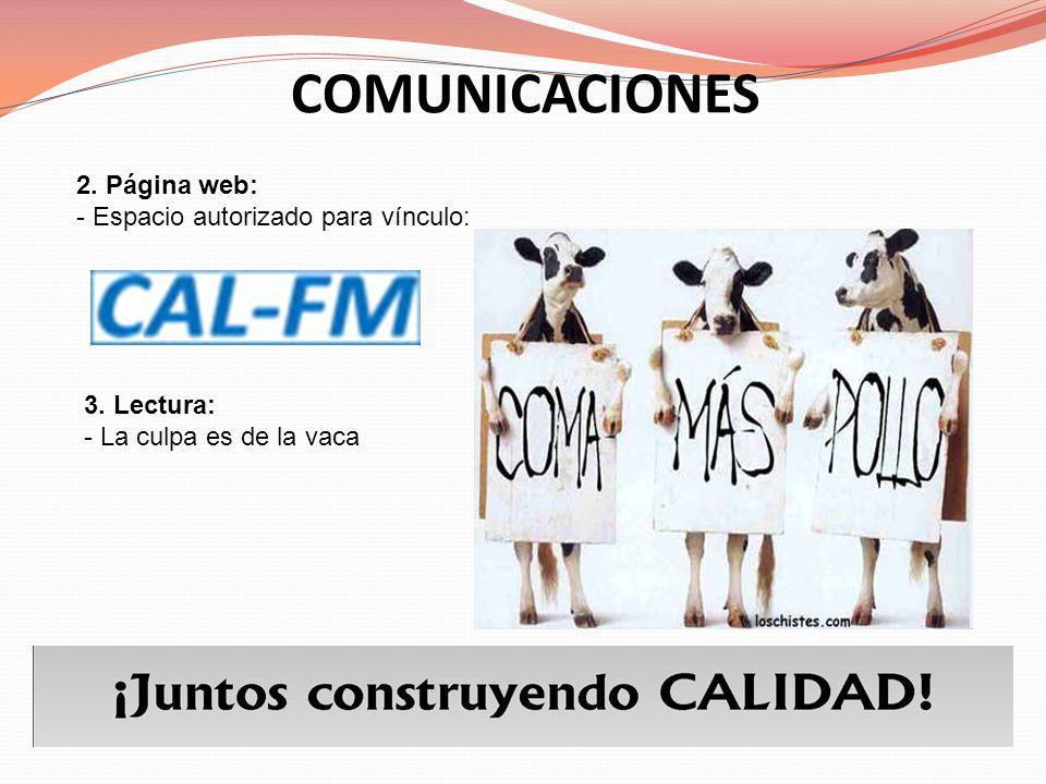 COMUNICACIONES 2. Página web: - Espacio autorizado para vínculo: