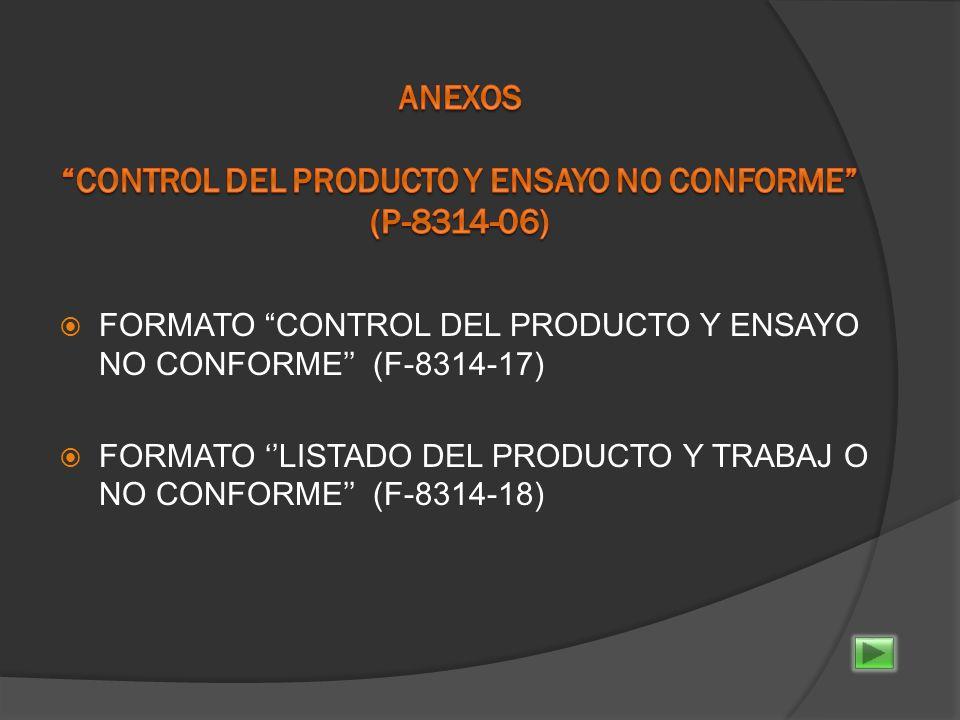 ANEXOS CONTROL DEL PRODUCTO Y ENSAYO NO CONFORME (P-8314-06)