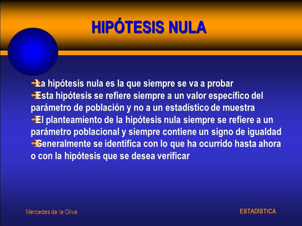 HIPÓTESIS NULA La hipótesis nula es la que siempre se va a probar