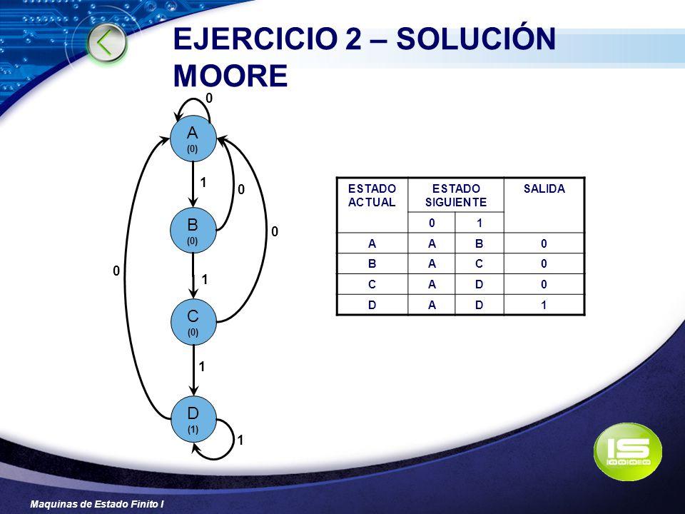 EJERCICIO 2 – SOLUCIÓN MOORE