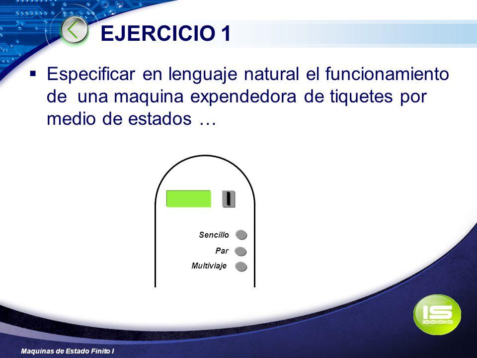 EJERCICIO 1 Especificar en lenguaje natural el funcionamiento de una maquina expendedora de tiquetes por medio de estados …
