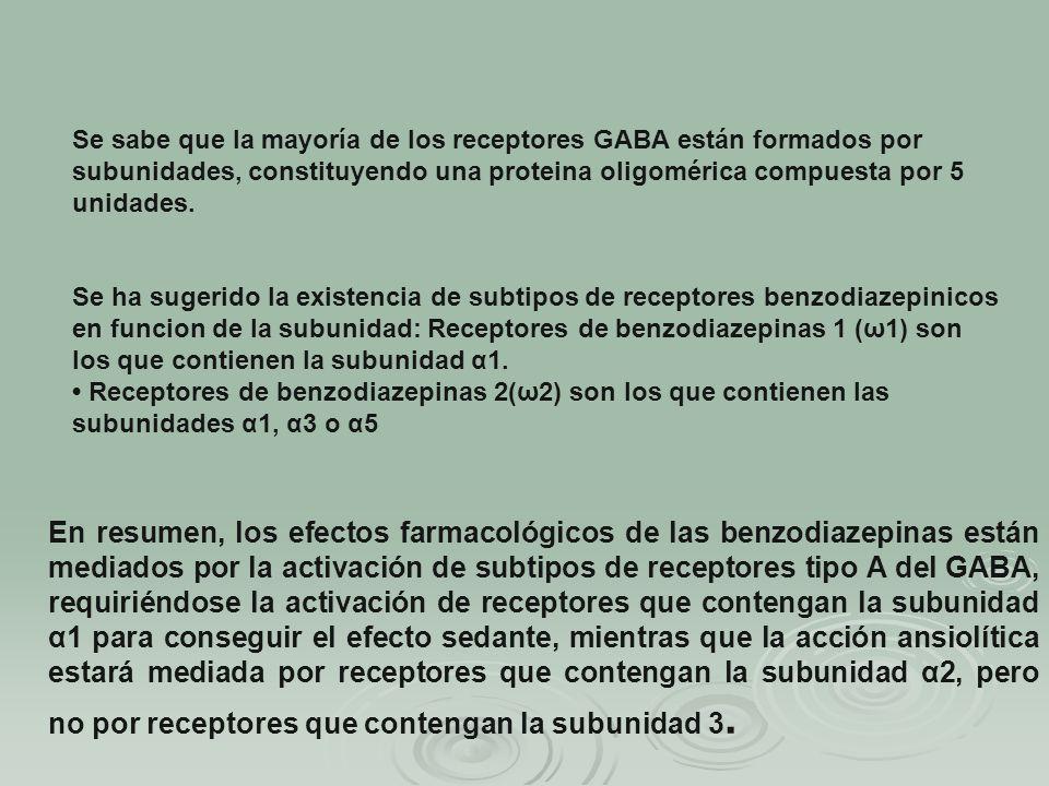 Se sabe que la mayoría de los receptores GABA están formados por