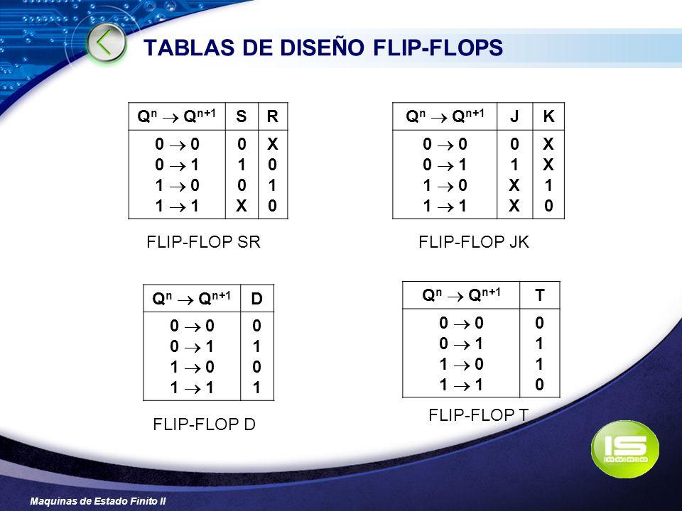 TABLAS DE DISEÑO FLIP-FLOPS