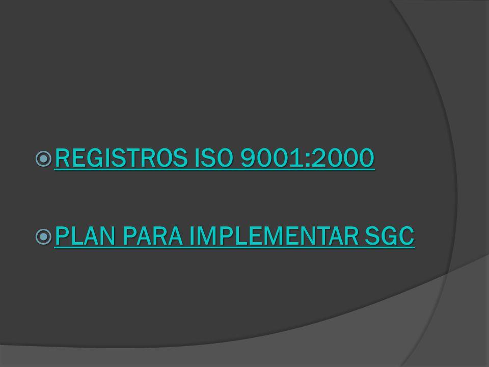 REGISTROS ISO 9001:2000 PLAN PARA IMPLEMENTAR SGC