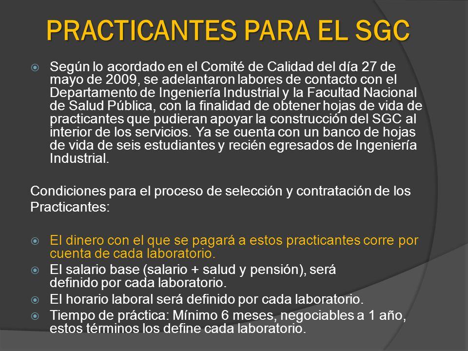 PRACTICANTES PARA EL SGC