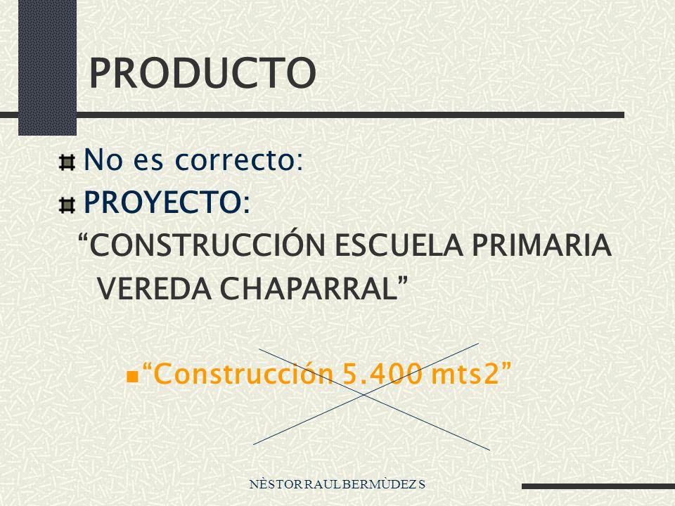 PRODUCTO No es correcto: PROYECTO: CONSTRUCCIÓN ESCUELA PRIMARIA