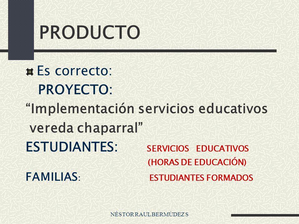 PRODUCTO Es correcto: PROYECTO: Implementación servicios educativos