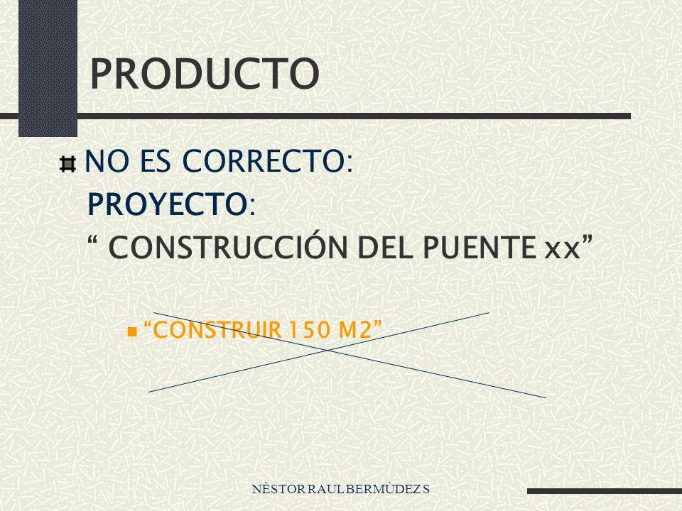 PRODUCTO NO ES CORRECTO: PROYECTO: CONSTRUCCIÓN DEL PUENTE xx