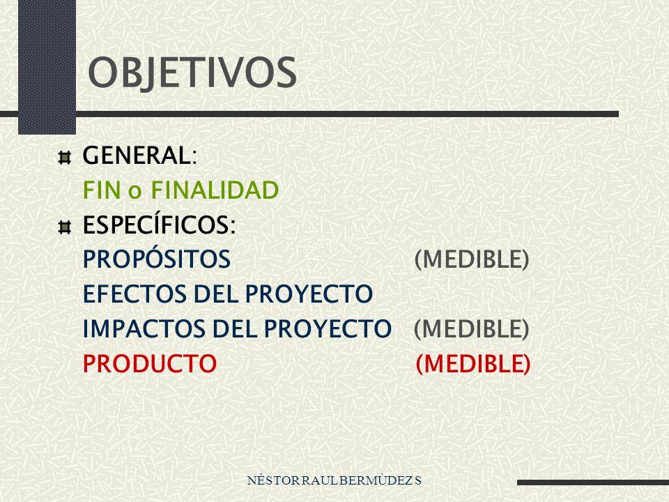 OBJETIVOS GENERAL: FIN o FINALIDAD ESPECÍFICOS: PROPÓSITOS (MEDIBLE)