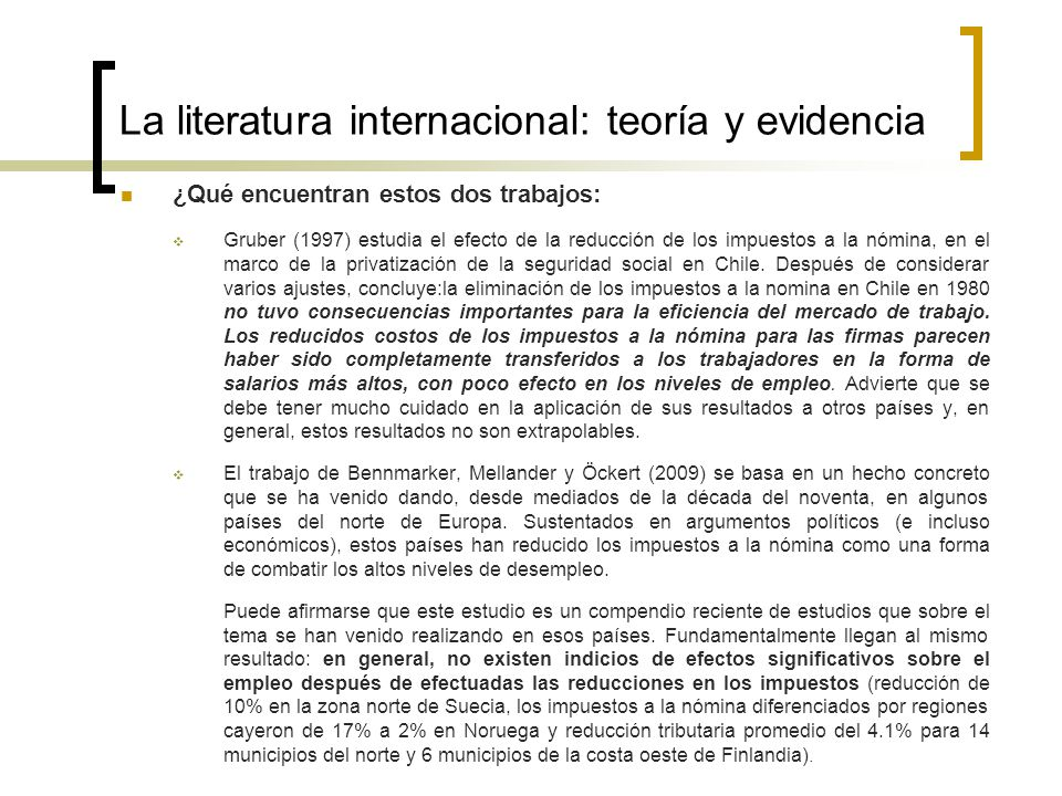 La literatura internacional: teoría y evidencia