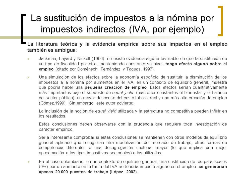 La sustitución de impuestos a la nómina por impuestos indirectos (IVA, por ejemplo)