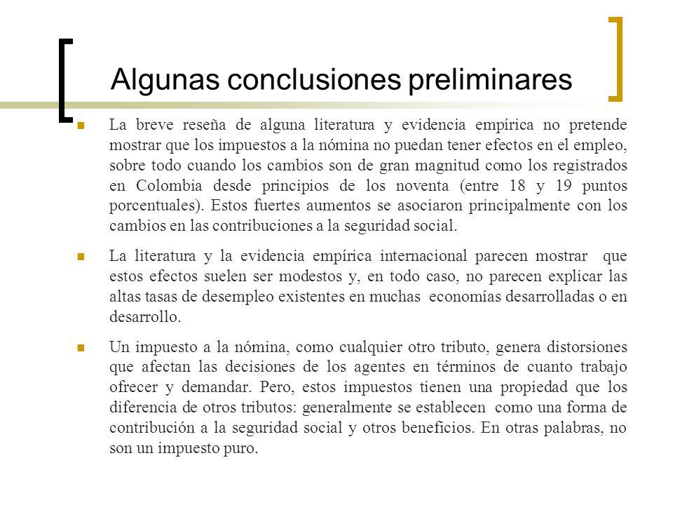 Algunas conclusiones preliminares