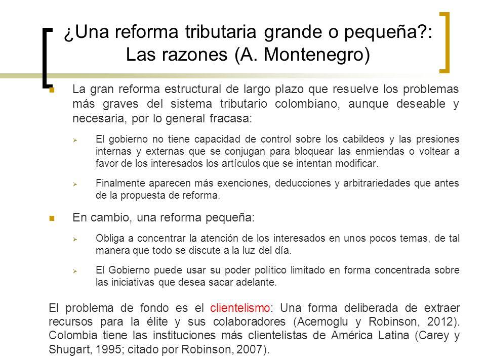 ¿Una reforma tributaria grande o pequeña : Las razones (A. Montenegro)
