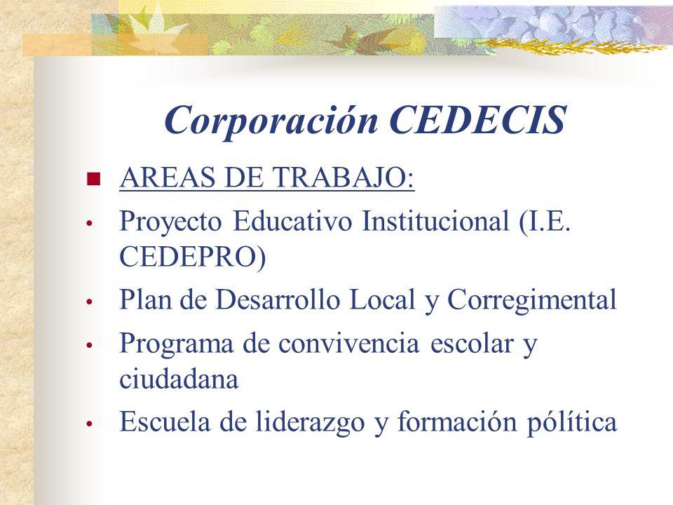 Corporación CEDECIS AREAS DE TRABAJO: