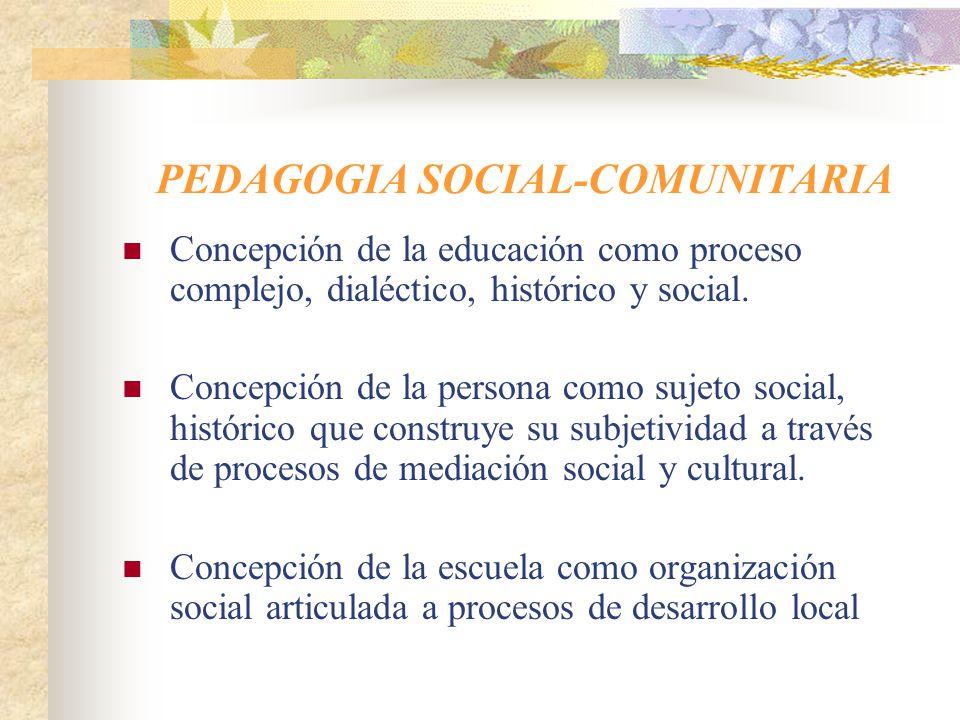 PEDAGOGIA SOCIAL-COMUNITARIA
