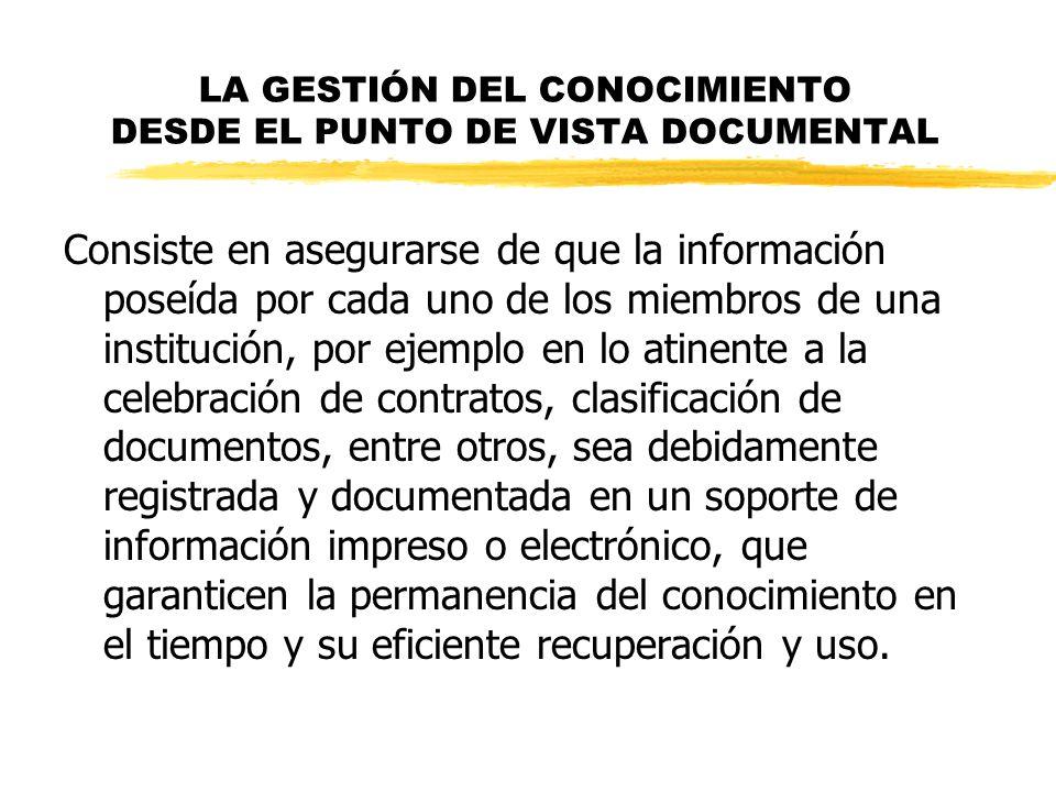 LA GESTIÓN DEL CONOCIMIENTO DESDE EL PUNTO DE VISTA DOCUMENTAL