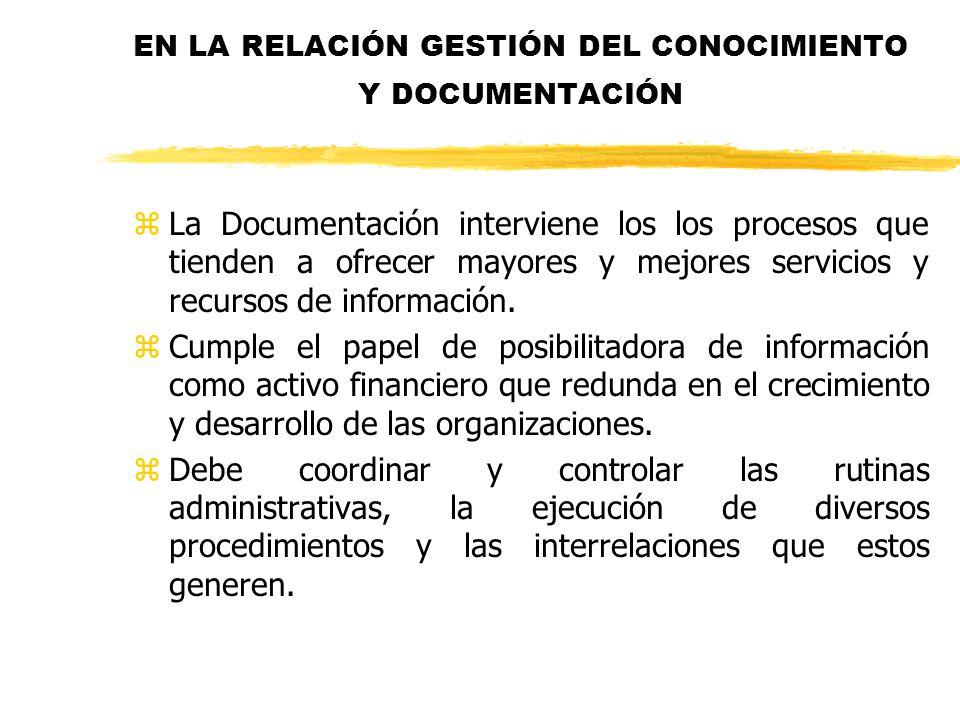 EN LA RELACIÓN GESTIÓN DEL CONOCIMIENTO Y DOCUMENTACIÓN