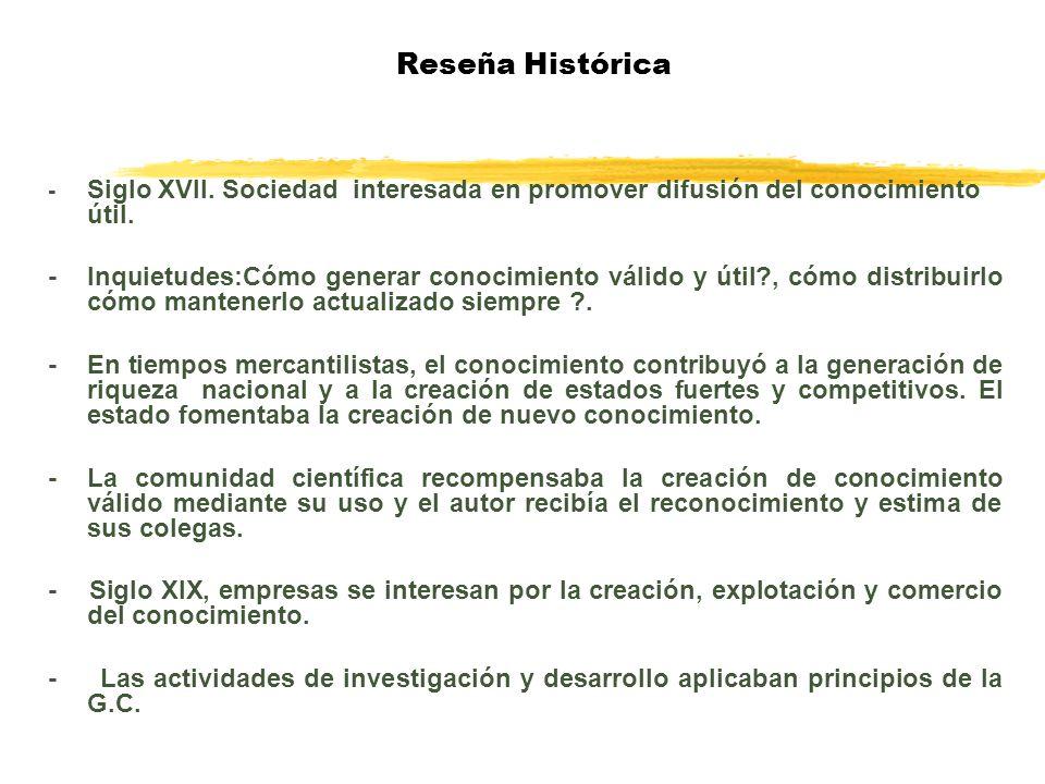 Reseña Histórica - Siglo XVII. Sociedad interesada en promover difusión del conocimiento útil.