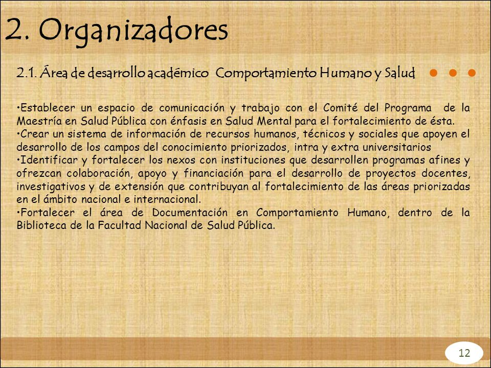 2. Organizadores 2.1. Área de desarrollo académico Comportamiento Humano y Salud.